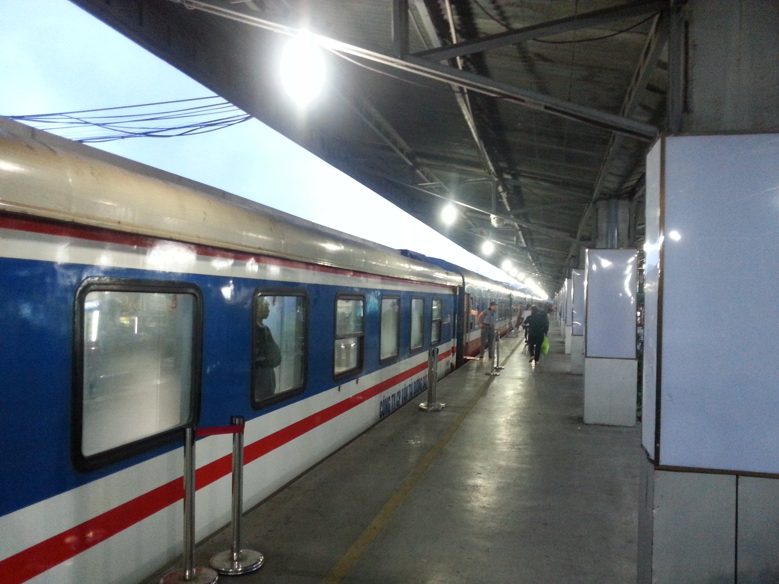 Vietnam train getting ready to depart