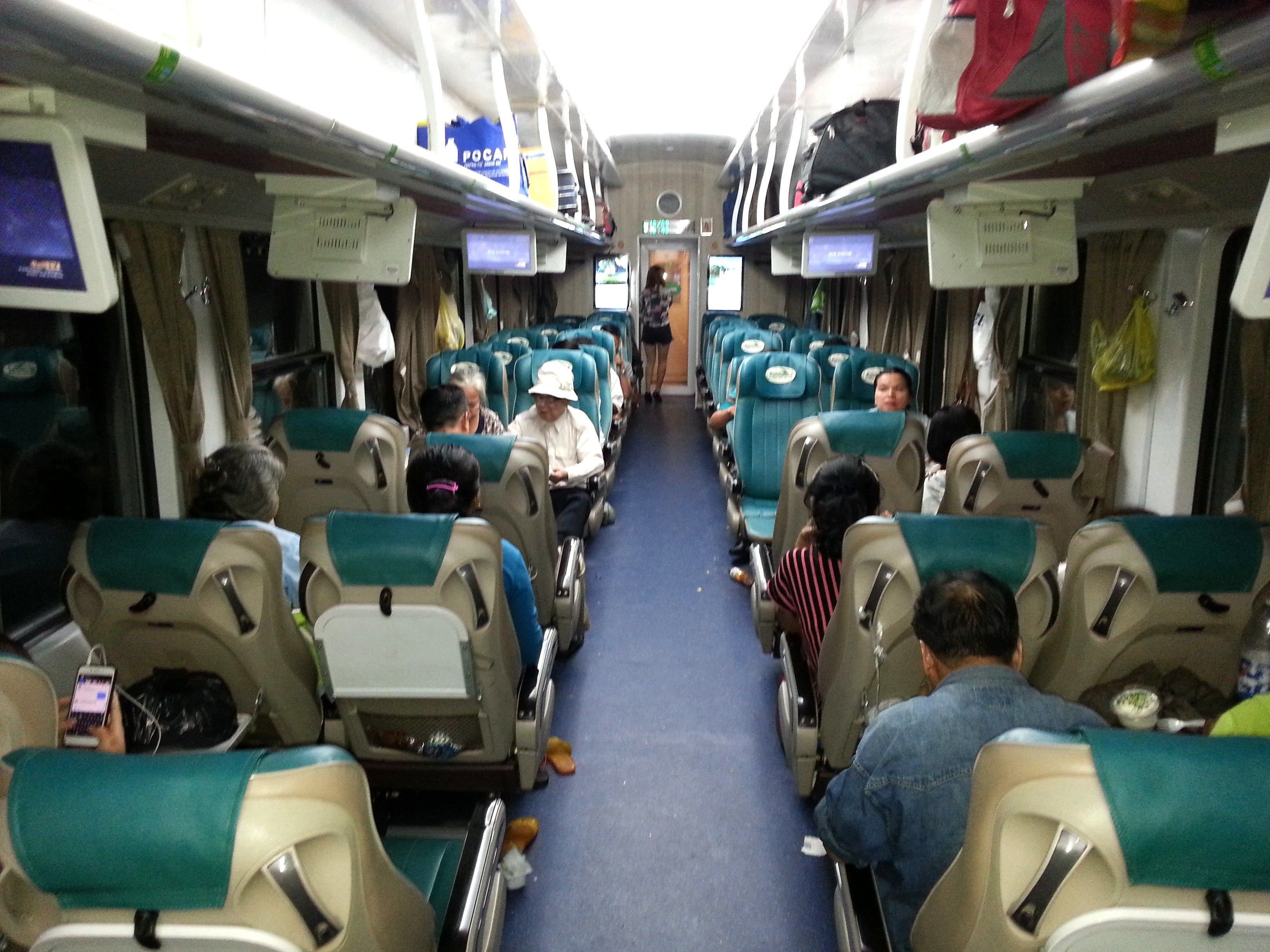 Soft seat carriage on Train #SE2 to Hanoi